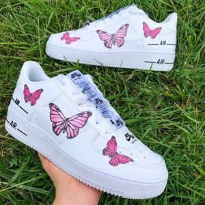 Nike Air Force 1 Custom Pink Butterfly Sne…